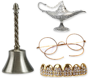 silver bell, gold teeth, gold rimmed glasses, silver lamp
