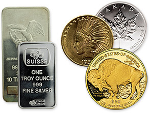 silver bars and gold coins
