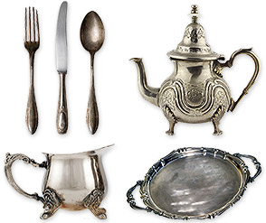 sterling silver forks, spoon, knife, teaset, serving tray